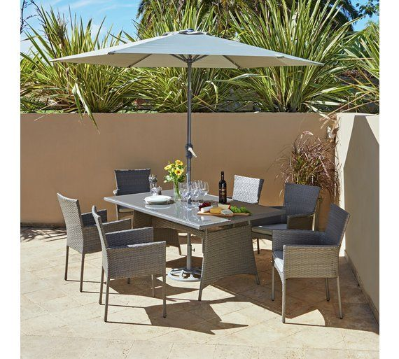 buy the collection havana rattan effect grey 6 seater patio set at argosco - Rattan Garden Furniture 6 Seater