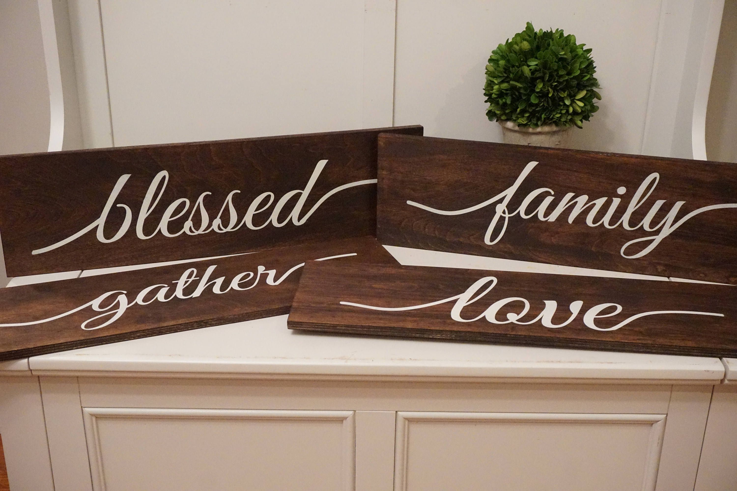 Wooden Decor Signs Large Rustic Wood Decorgather Wood Signfamily Wood Sign