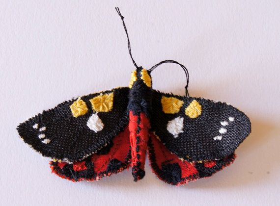 Moth Butterfly Statement Brooch Scarlet Tiger Moth Fiber Art  Natural History Gift Nature Lover Gift for Her Woodland Fashion