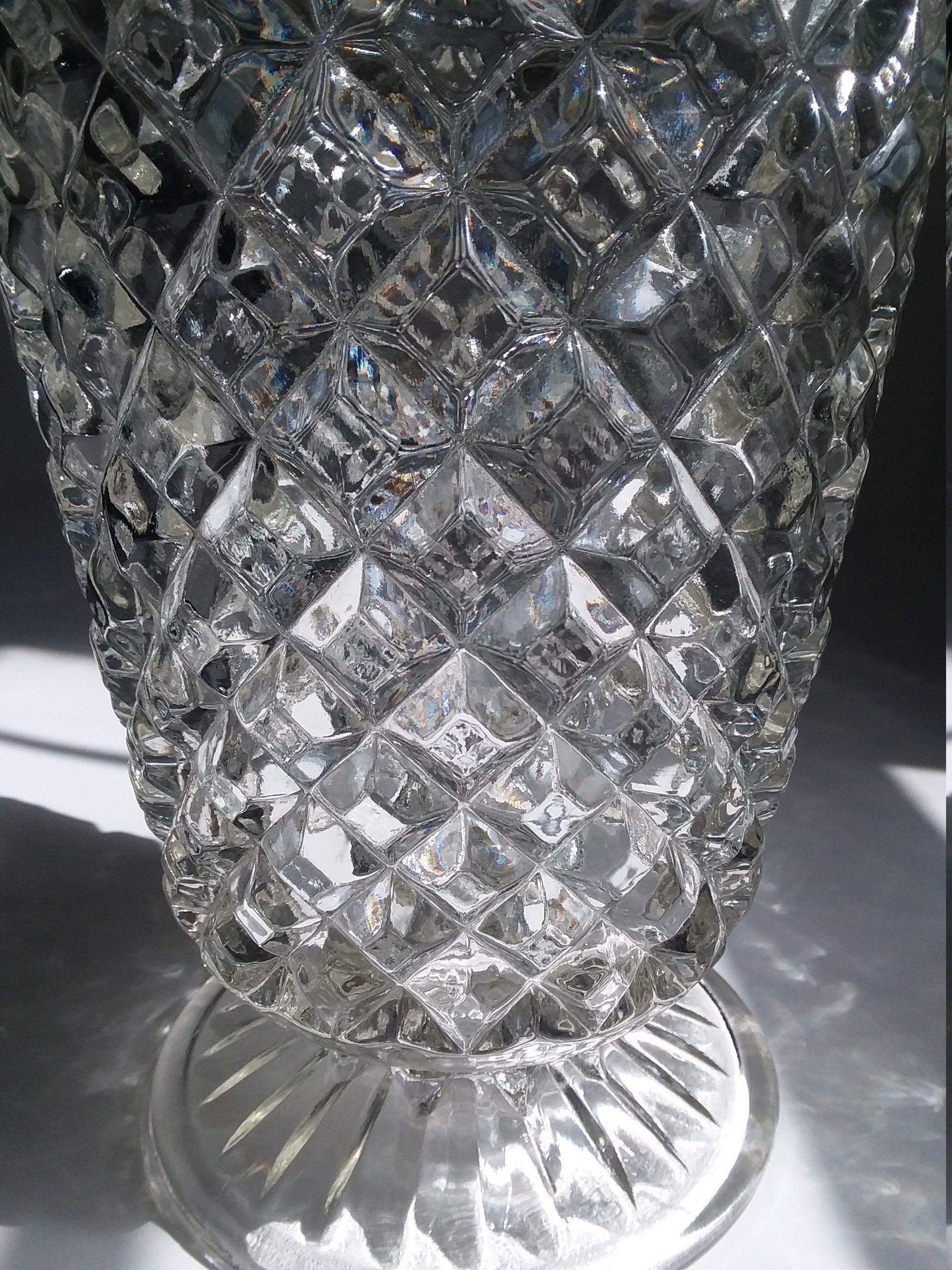 Tall Large Lead Crystal Clear Vase With Diamond Lattice Design Flower Vase Crystal Vase Large Flower Vases Clear Vases