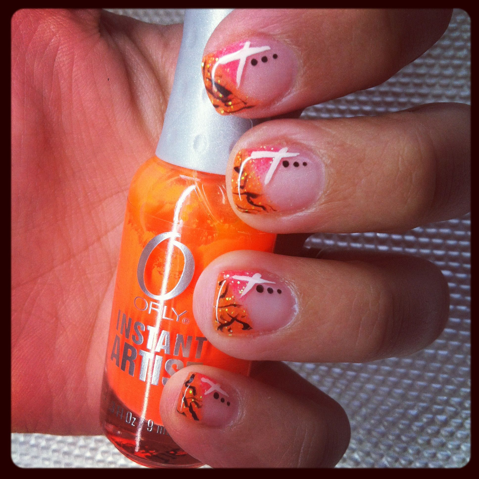 Funky Coral And Orange Gel Nails Gel Nail Design I Like