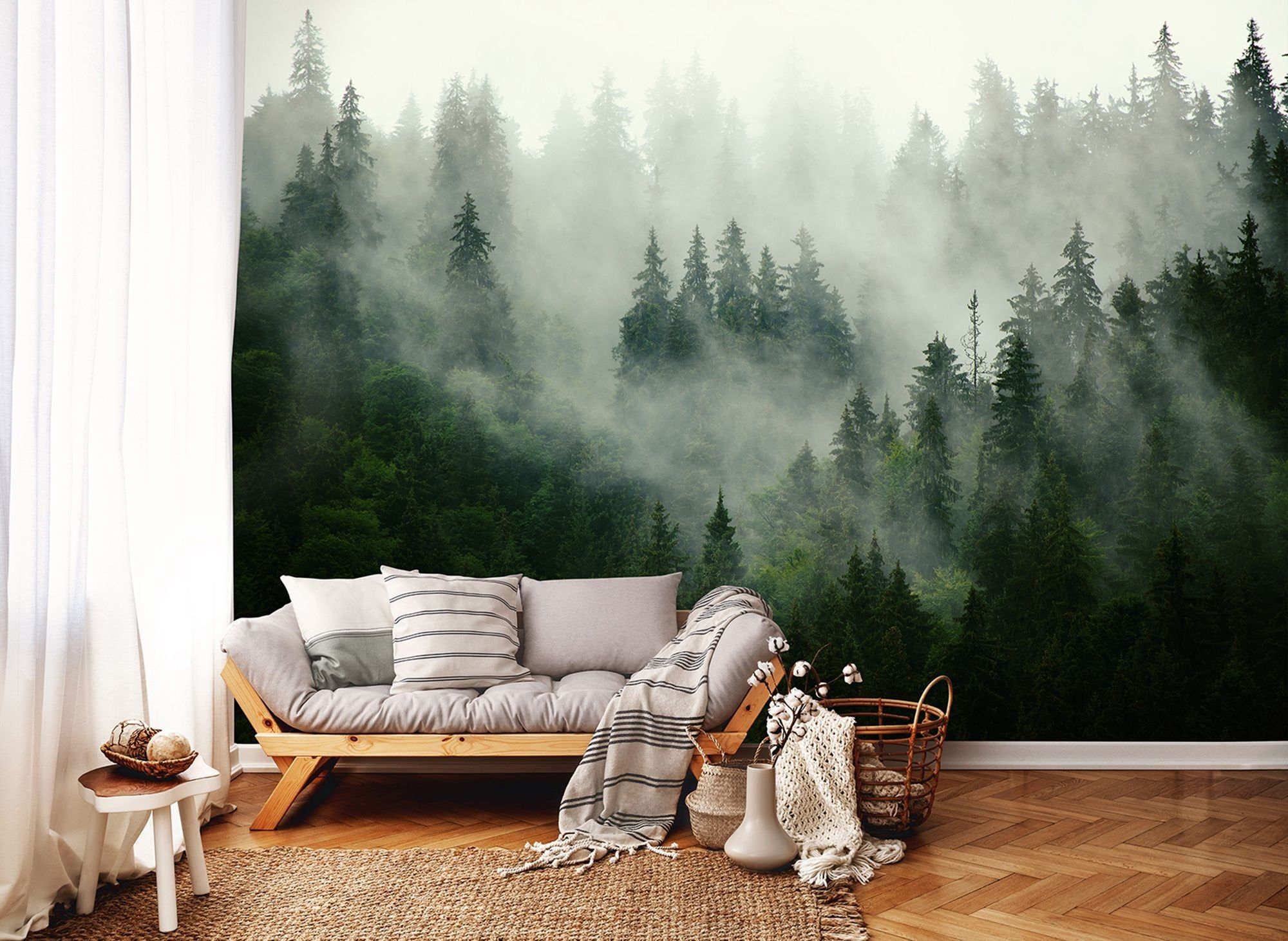 Wallpaper Photo Mural Wall Decoration Misty Forest