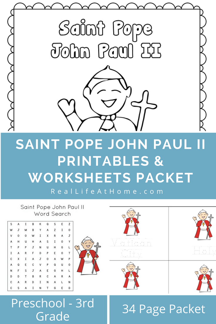 Saint Pope John Paul II Printables and Worksheet Packet | Proudly ...