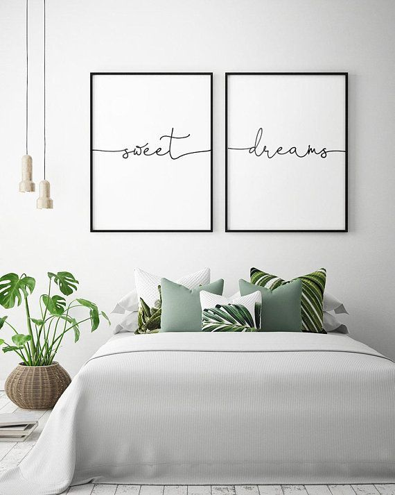 Photo of Above Bed Art Sweet Dreams Printable Art (Set of 2) Bedroom Decor Scandinavian A…