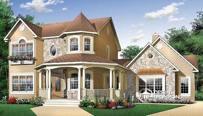 dcouvrez le plan w2898 portico 3 qui vous plara pour ses 5 6 4 chambres et son style victorien
