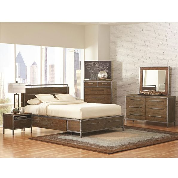 Audrey Modern Bedroom Collection | Industrial Wood and Metal ...