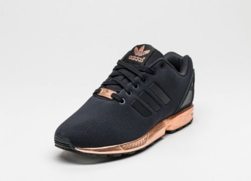 regard détaillé 3fe69 f7f5f WOMENS Adidas ZX FLUX CORE BLACK COPPER ROSE GOLD BRONZE ...