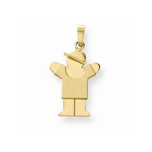 14k Yellow Gold Polished Boy With Hat Love Charm