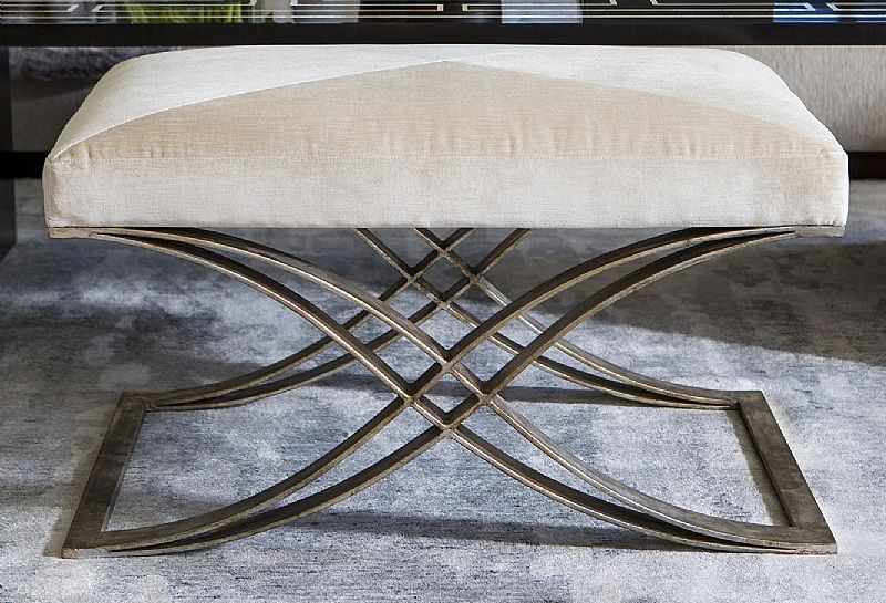 Garion Bench by Ebanista - Hand-forged wrought iron bench. Antiqued 12k Borghese finish. Upholstered seat cushion with mitered detailing. Shown with Moletto Alabaster cotton blend velvet upholstery. Discover more at https://www.ebanista.com.