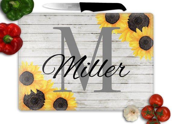 Personalized Sunflower Cutting Board – Sunflower Decor – Sunflower Kitchen Decor – Last Name – Home