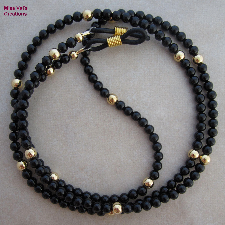 76f4e13ab701 Black onyx and gold eyeglass chain holder for reading glasses. Eyeglass  Holder