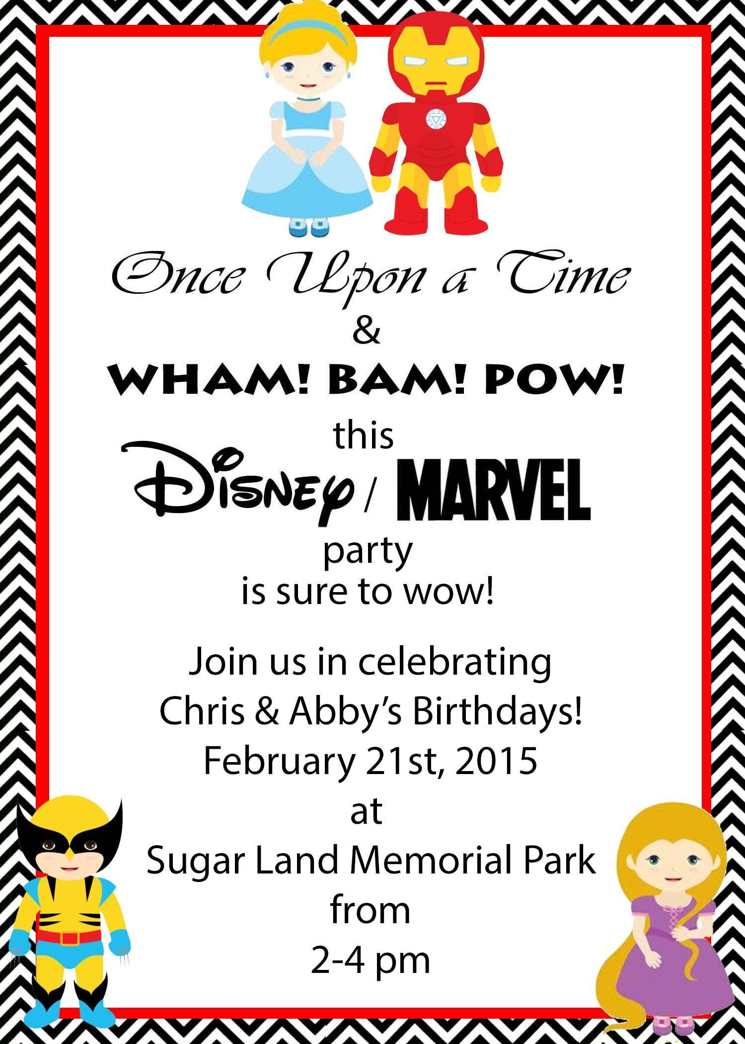 Marvel and Disney Party, Princess and Superhero Party invitation ...