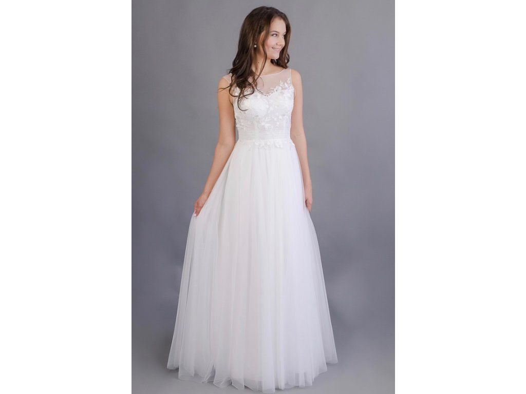 Svatební šaty s tylovou sukní a květinovým živůtkem lehounká tylová sukně  lodičkový výstřih s květinovým vzorem 833eca3323