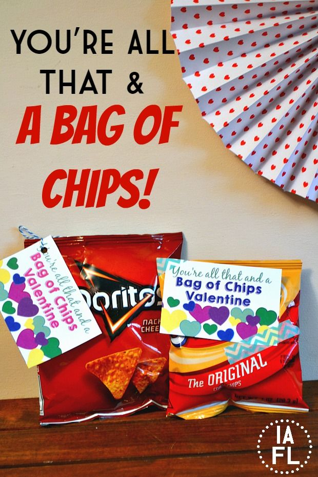picture about You're All That and a Bag of Chips Printable called Youre All That and a Bag of Chips Valentine No cost Printable