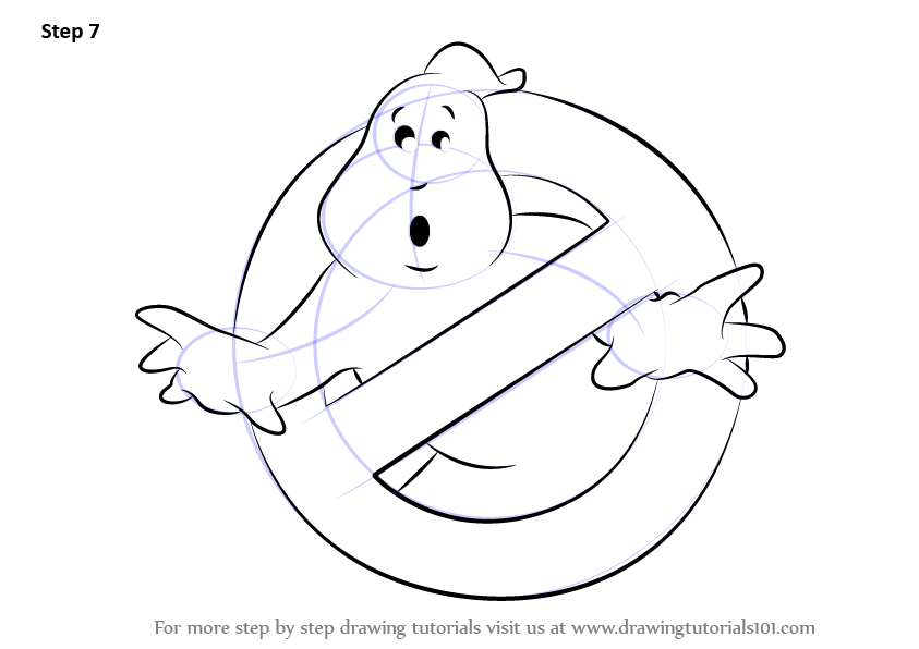 Step By Step How To Draw Ghostbusters Logo Drawingtutorials101 Com Ghostbusters Logo Drawings Ghostbusters