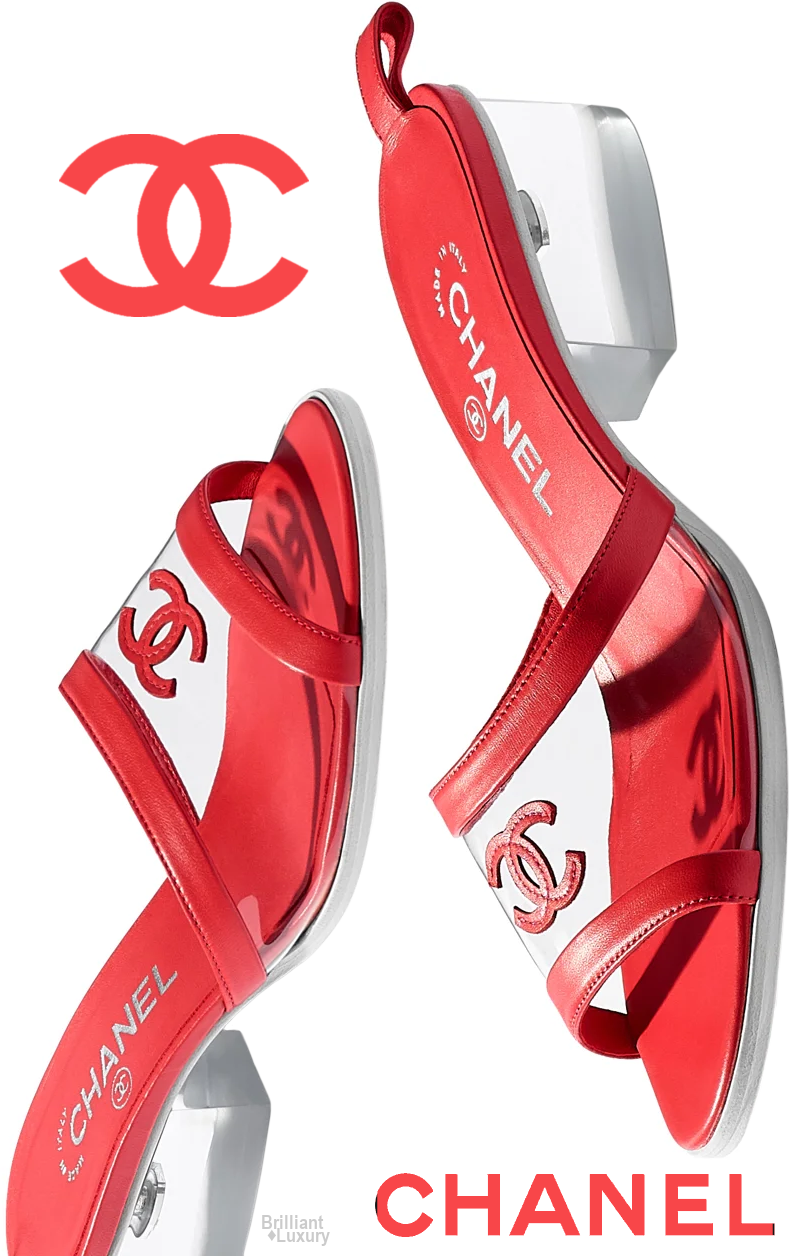 ♢Chanel red mules   Red sandals heels