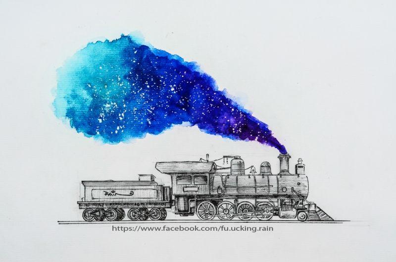 watercolor, Galaxy, bút kim, painting