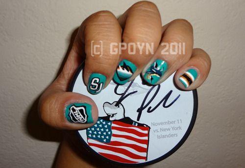 My Original San Jose Sharks Nail Art Design Shark Nail Art Nails Nail Art Designs