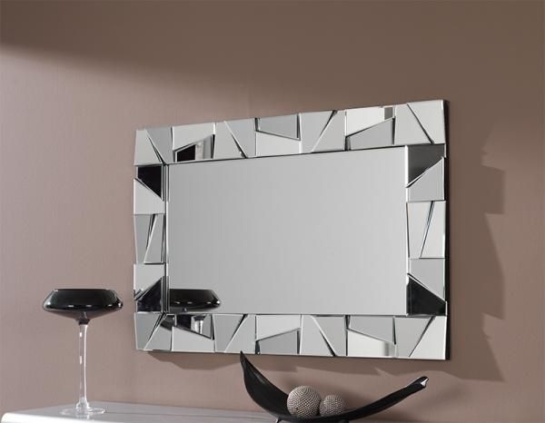 Modern Rectangular Wall Mirror With Large Triangular Mosaic Frame