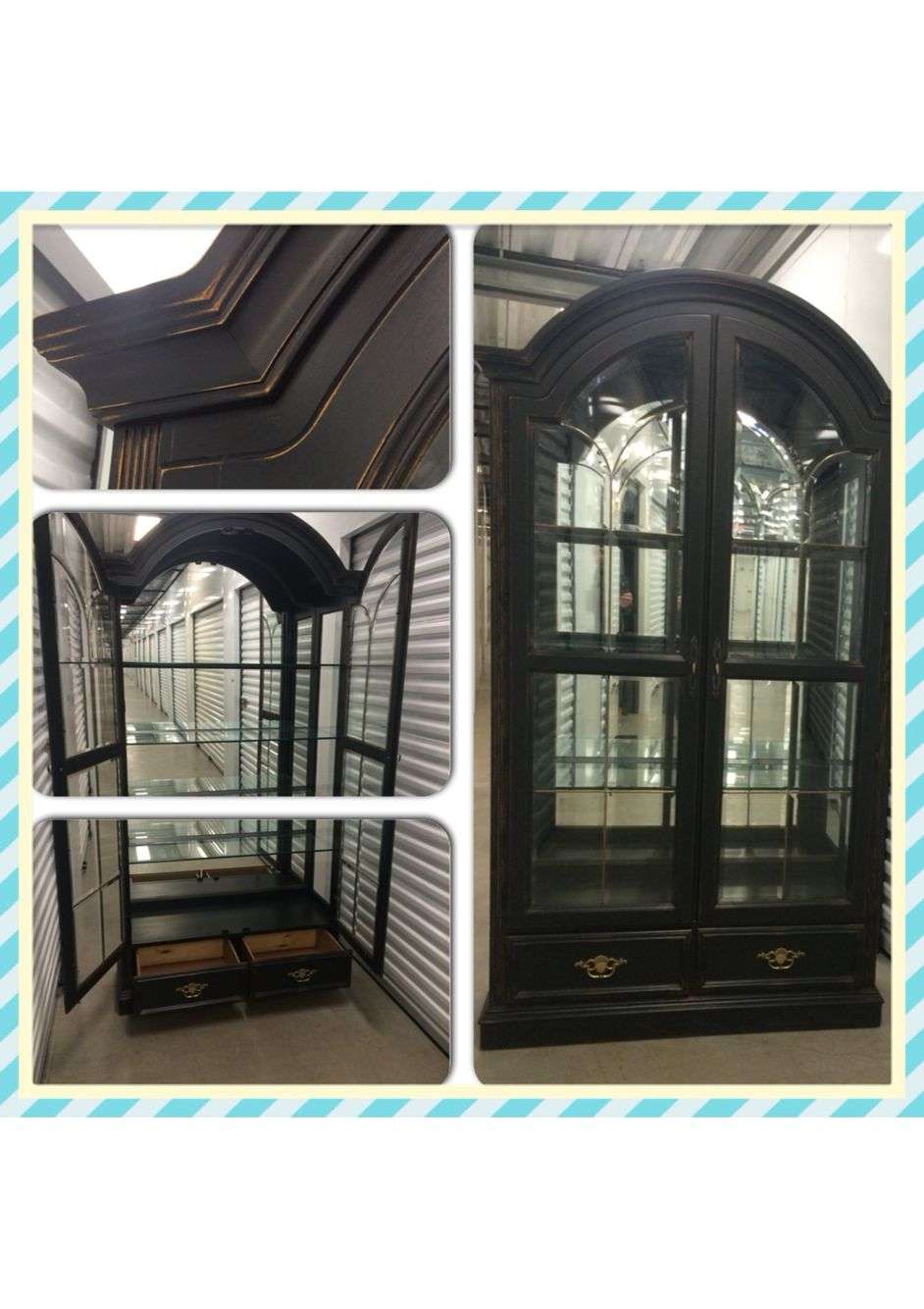 Display Curio Cabinet Refinished In Black Chalk Paint Distressed And Sealed Curio Cabinet Redo Redo Furniture Furniture Restoration