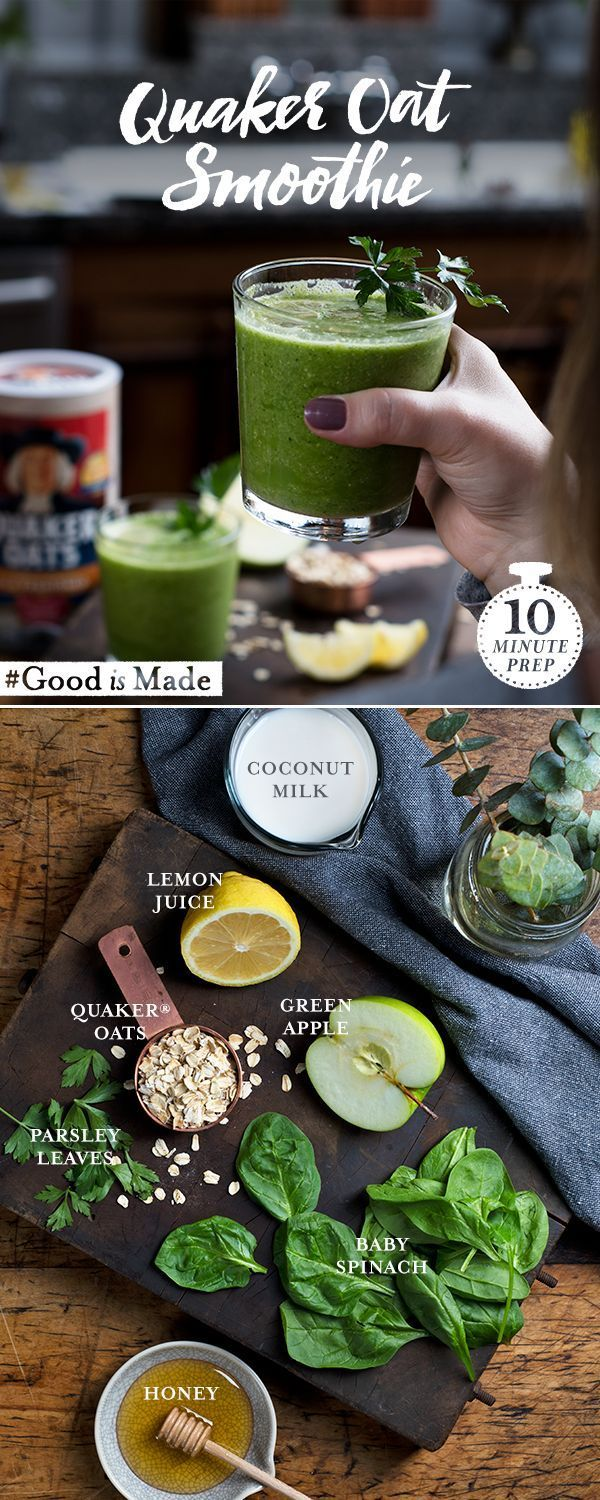 The Quaker® Green Power Oat Smoothie is an easy recipe that will keep you motivated on a cold winter day. Oats, fruit, and greens all work together to create a tasty and wholesome smoothie that's sure to be a favorite for the active and energetic.