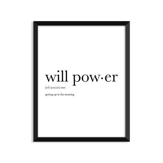 Will Power Definition, Art Poster, Dictionary Art Print