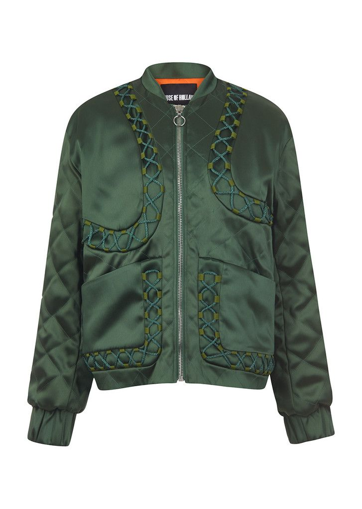 Green Satin Bomber – House of Holland