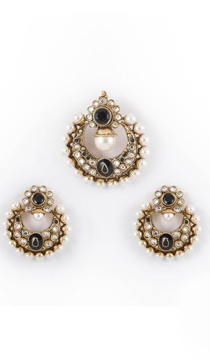 Pendantsets stone studded gold finish pendant set costs rs