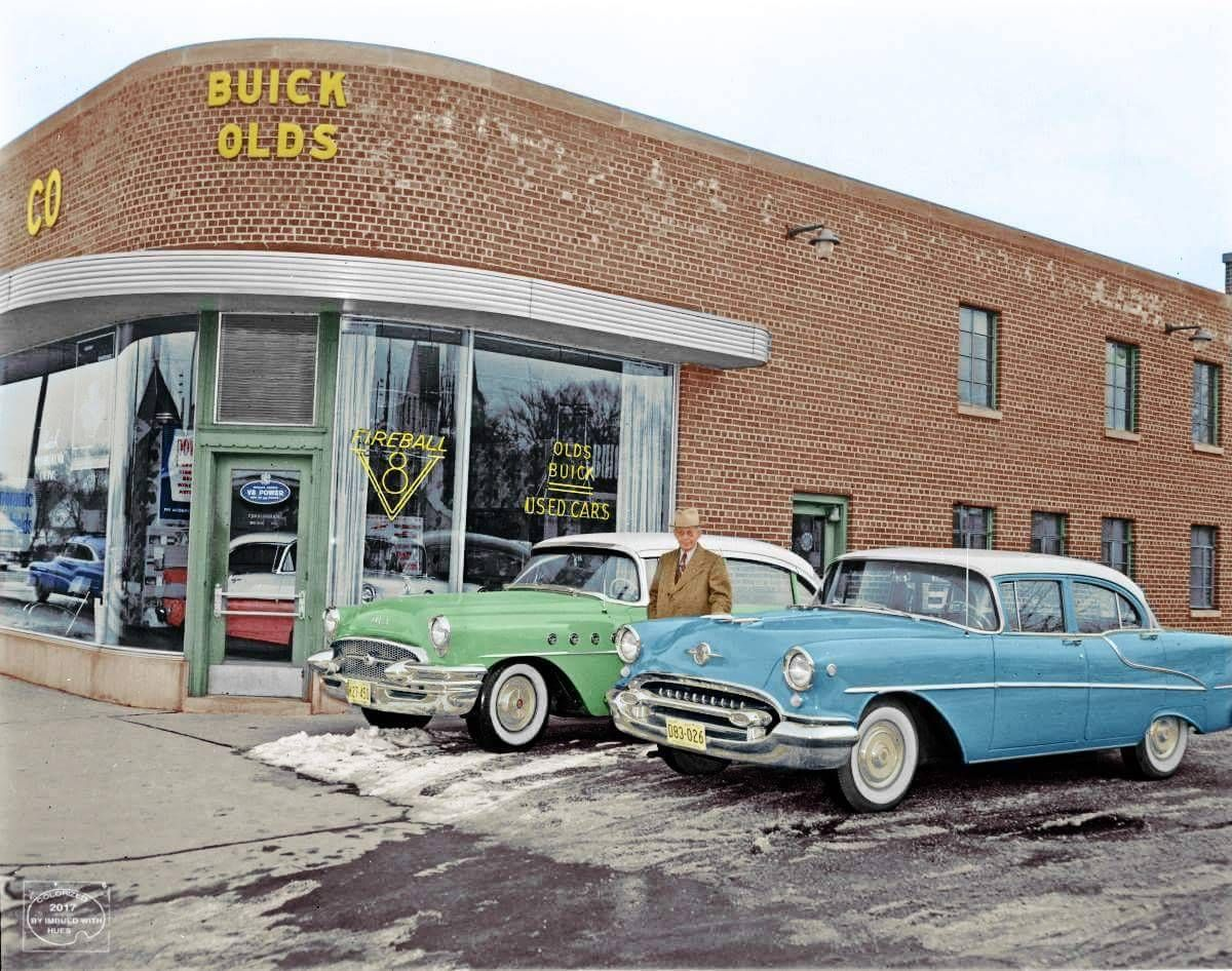 Buick & Olds dealership in 1955 (or late 1954) Chevrolet