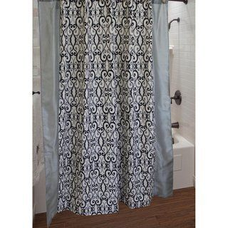Sherry Kline Abingdon Grey Black Ivory Damask Fabric Shower