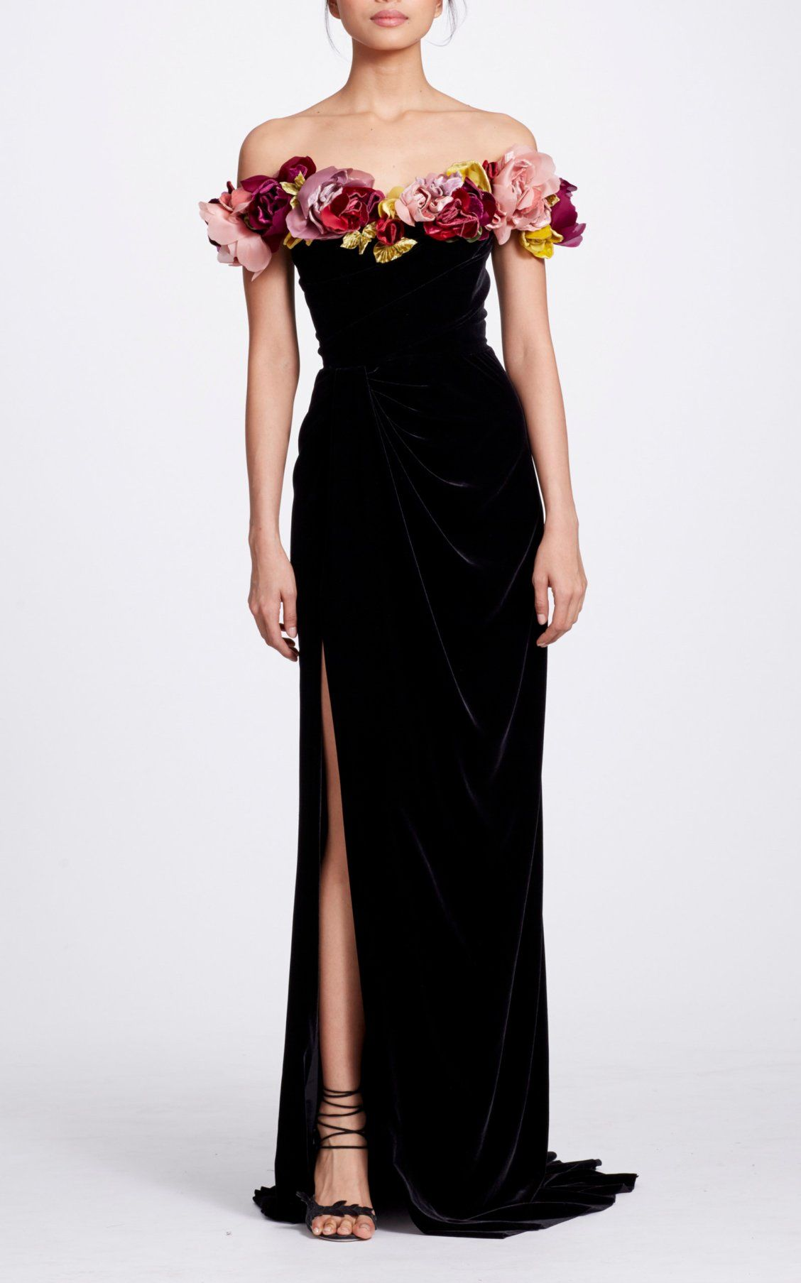 3727aa821c Floral-Appliquéd Off-The-Shoulder Velvet Gown by Marchesa | Likey in ...