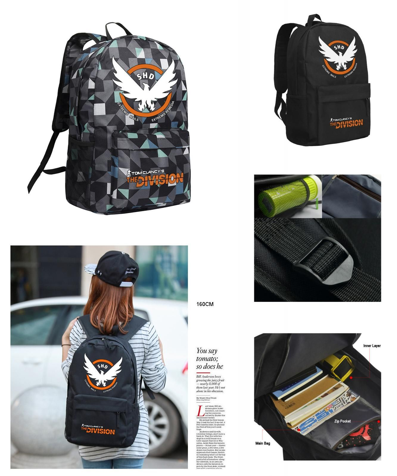 5a0a25066f  Visit to Buy  The Division Backpack for Boys Men Laptop Bags Cool PC Game