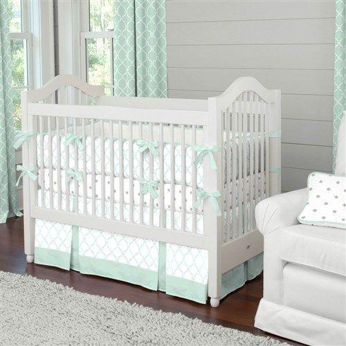 Neutral Baby Crib Bedding  Boy Baby Crib Bedding  Girl Baby Bedding Silver Gray and Mint Fawn Crib Blanket by Carousel Designs