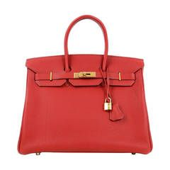 975a24a179 Hermes Red Leather 35 cm Birkin Bag- RED TOGO with GOLD hardware ...