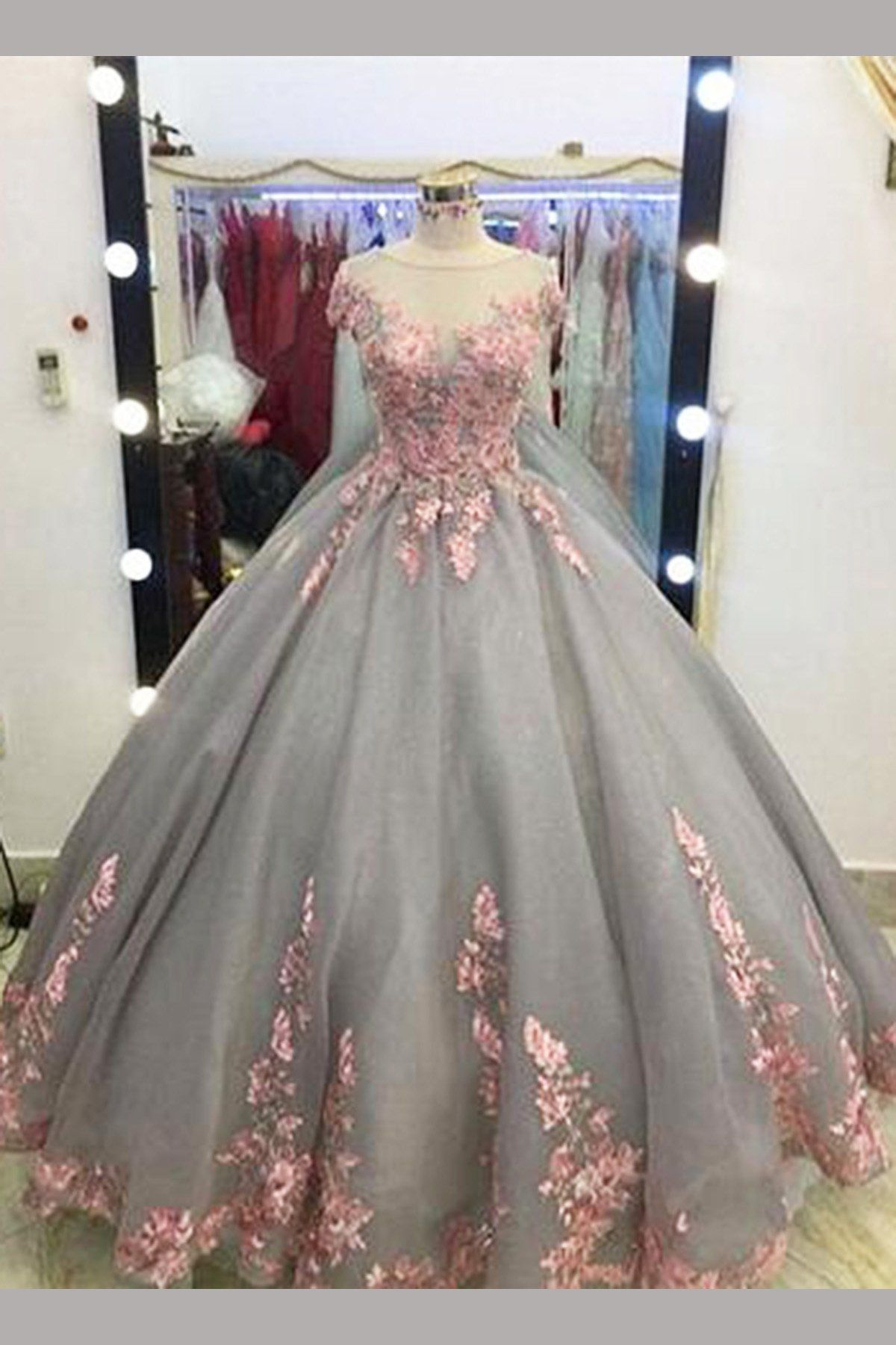 Gray ball gown cap sleeves floorlength pink lace