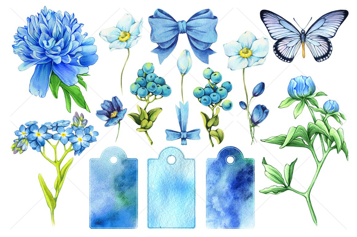 Floral and decor set (blue color) by Color and Decor on ...