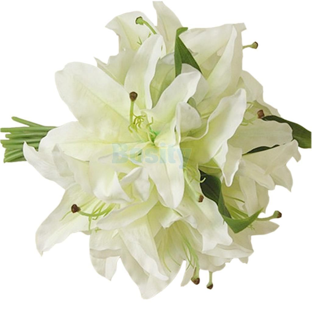 White silk lily bouquet artificial bride hands holding flower home white silk lily bouquet artificial bride hands holding flower home decor izmirmasajfo Image collections