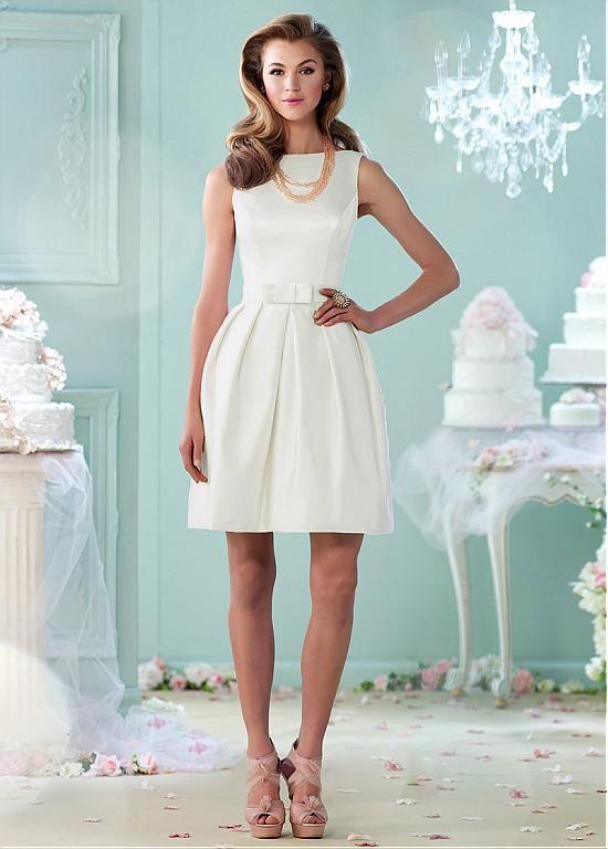 Lovely Satin Bateau Neckline A-line Wedding Dresses with Bowknot ...