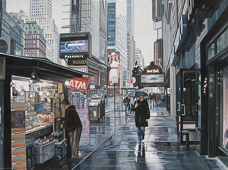Schilderij stadsgezicht - Paul Vereecke  - New York 7th Avenue op zondag - Olieverf op doek - 110 x 75 cm. -