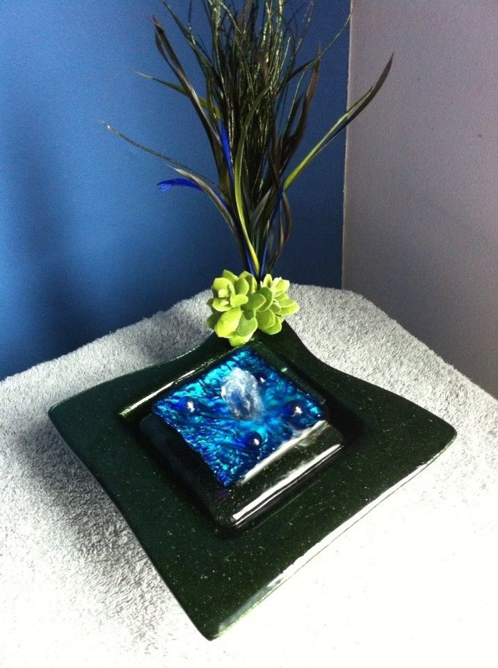 Our Beautiful Iridescent Green And Blue Battery Operated Tabletop Water  Fountain