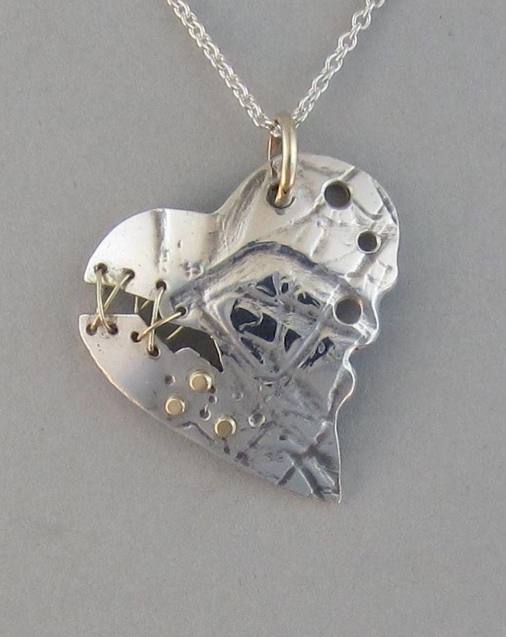 sterling stitched broken pendant sterling silver