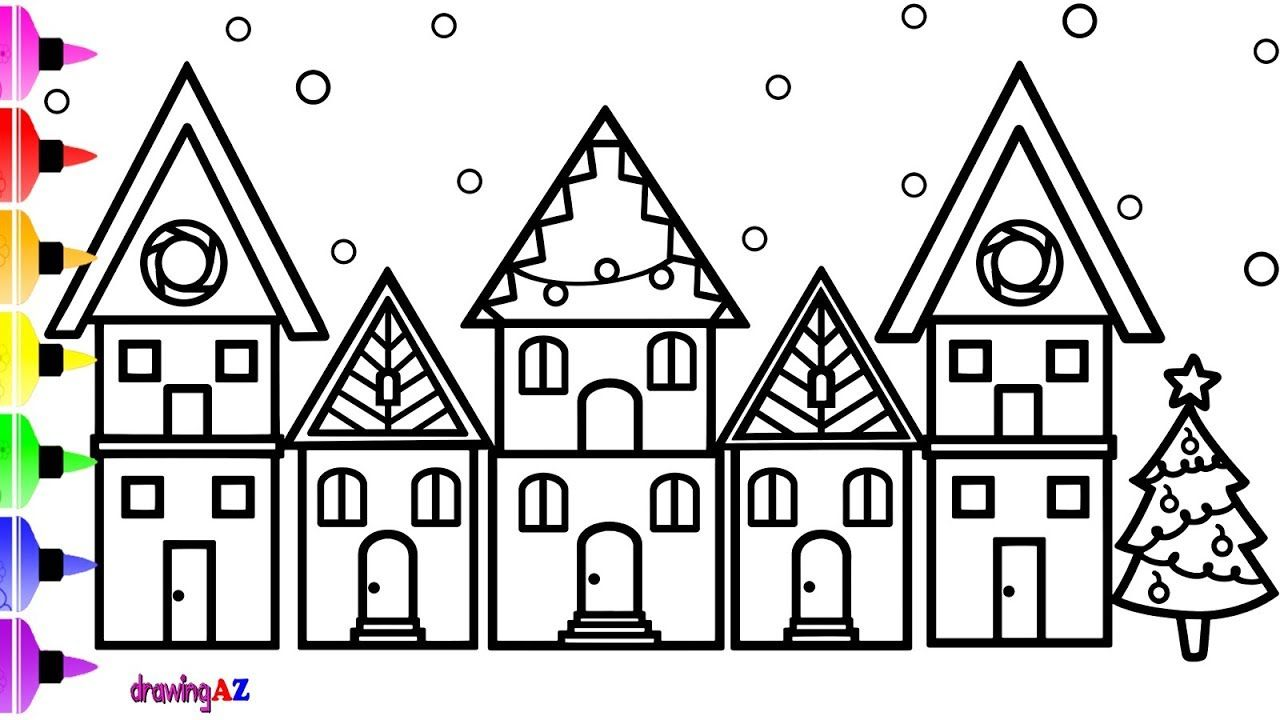 how to draw house for christmas and christmas house coloring page for kids