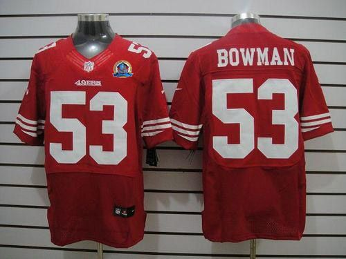 25761f28f Nike 49ers  53 NaVorro Bowman Red Team Color With Hall of Fame 50th ...