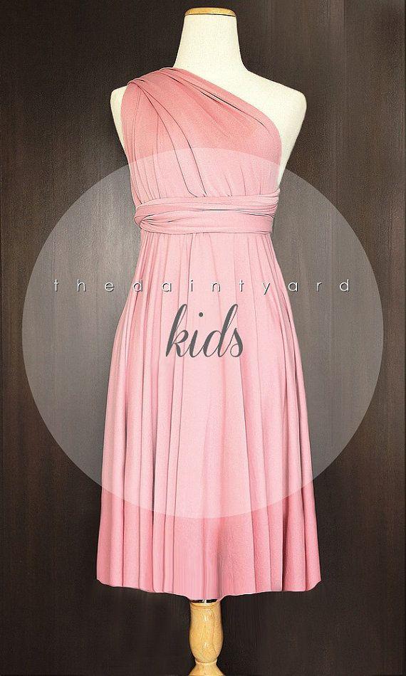KIDS Blush Bridesmaid Convertible Dress Infinity Dress | Wonderfully ...