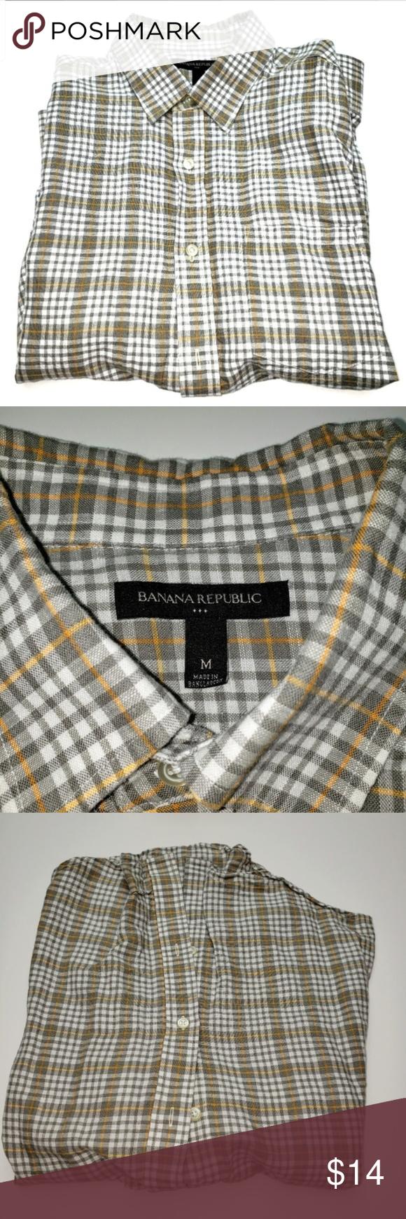 Banana Republic Mens Plaid Shirt Size Medium Banana