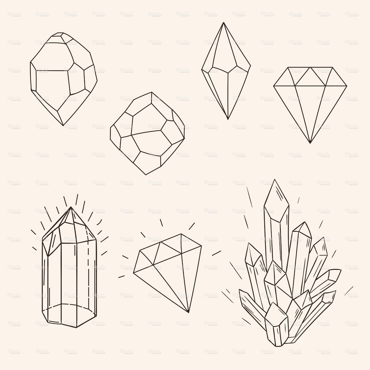 Hand drawn set sketch crystal,diamond and polygonal figure