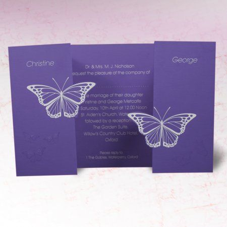 Butterfly Colours Wedding Invite Butterfly Wedding Invitations Printing Wedding Invitations Folded Wedding Invitation
