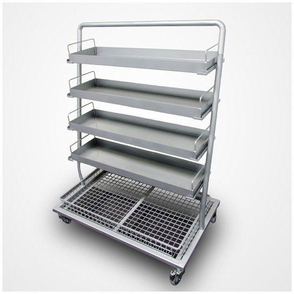 CARRO DE MEDICAMENTOS: Se compone de 4 cajones/bandejas extraíbles y una cesta con rejilla en la base, también extraíble para ayuda del usuario. Dispone de ruedas en su base para desplazarlo con facilidad.