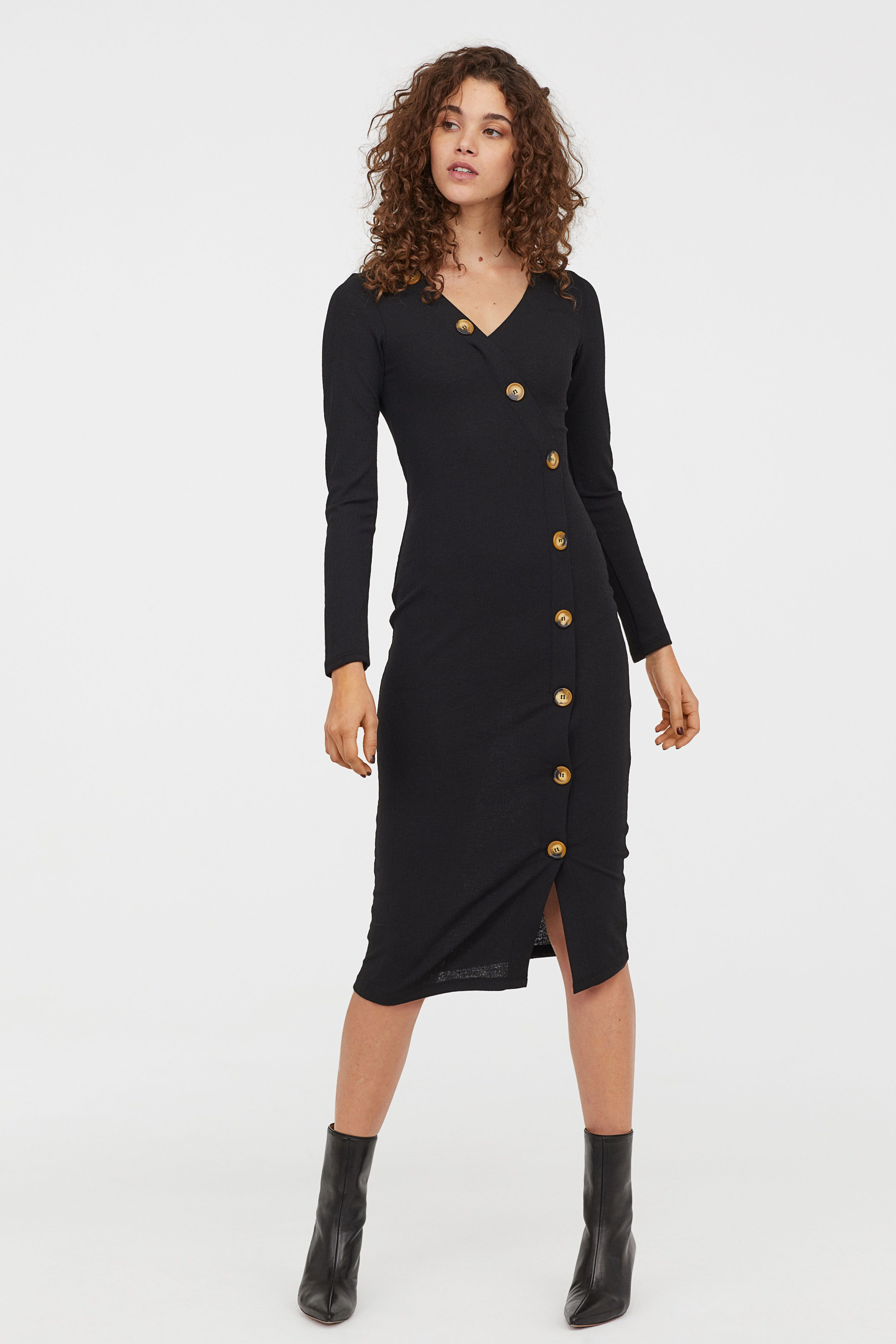 bd72540f89f Dress with Buttons - Black - Ladies
