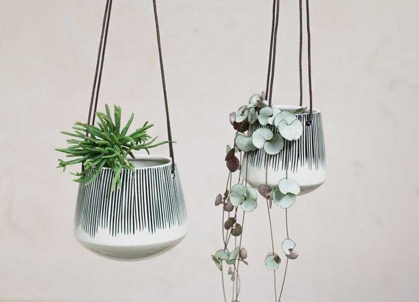 New Ashbury Leather Hanging Large Ceramic Planter White